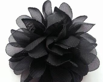 applique fleur noir  75mm