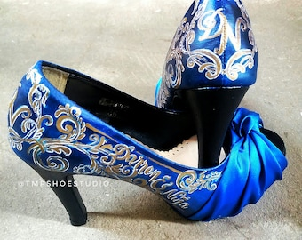 Custom handpainted blue wedding shoes
