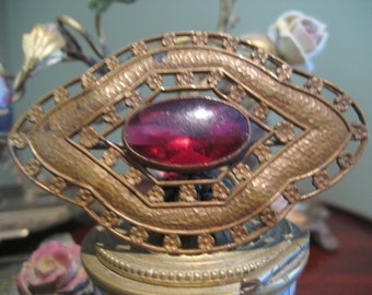 Large Antique Brass Brooch with Red Glass Jewel