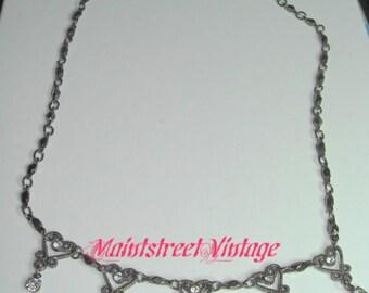 Vintage Unique Gunmetal 5 Hearts and Rhinestones Necklace