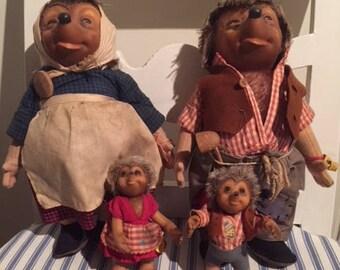 Steiff Vintage Mecki & Micki Hedgehog family from 1950.