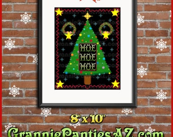 PATTERN ONLY Mature Content CHRISTMAS Hoe Hoe Hoe w/penises snowflakes ornaments tree 8x10 sampler