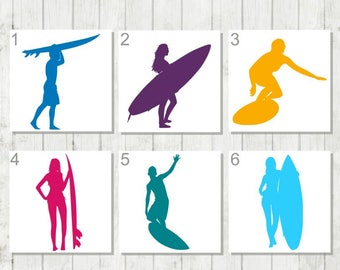 Surfing Decal, Surfboard Decal, Surfer Decal, Vinyl Decal