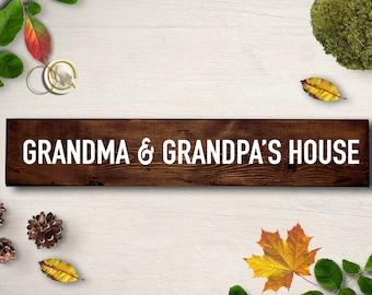 Grandma and Grandpas House, pregnancy announcement grandparents, pregnancy reveal to grandparents, custom wood framed sign, grandparent gift