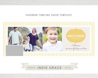 Facebook Timeline Cover - Organic Triangles Photography Template - INSTANT DOWNLOAD