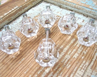 Shabby Chic Clear Glass Knobs (set of 6)