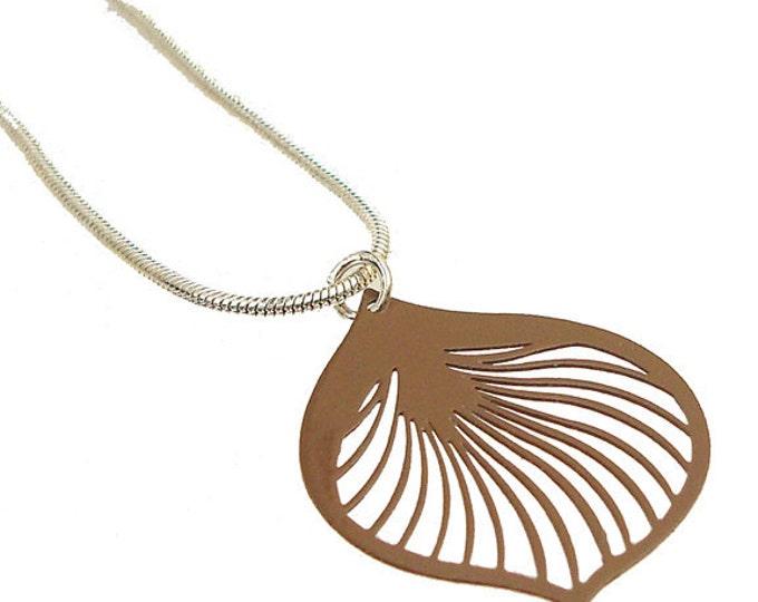 Enameled Filigree Ginkgo Leaf Pendant in Brown