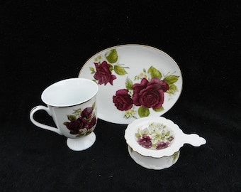 Tea Time Snack Set: Hand decorated porcelain
