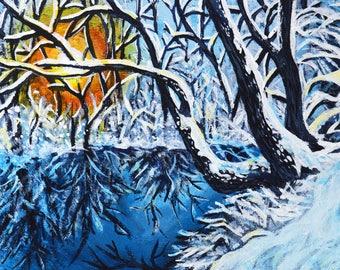 Snow landscape original acrylic painting - Study 8