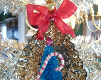 Vintage Inspired Victorian Christmas Ornament with Bottle Brush Tree, Tart Tin Ornament, Candy Cane and tree, Glitter ornament,