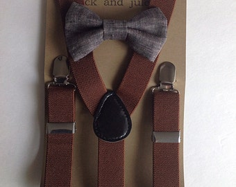 Boys camel brown suspenders with charcoal grey linen clip on bow tie