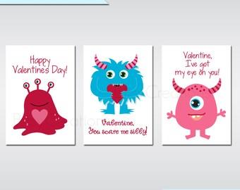 Printable Monster Valentines Digital File Instant Download Printable Valentines Monster Valentines