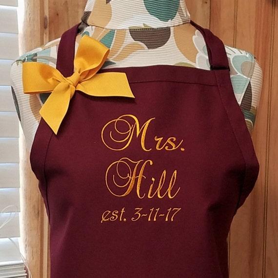 Personalized Apron Monogrammed Apron Bride Wedding Gift