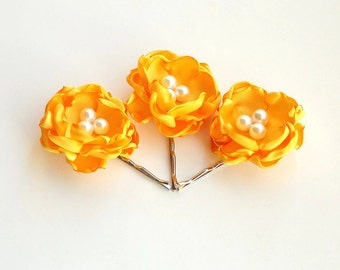 Hair Flower Pins - set of 3- Select Color -Floral Bobby Pins - Handmade Hair Accessory Formal, Wedding, Special Occasion Boho Chic Hair Clip