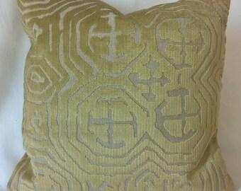 """Pollack Cut Velvet 'HMONG PLUSH' Green Gold Pillow, Cut Velvet Designer Pillow Luxury 16""""x16""""! 3 Available!"""