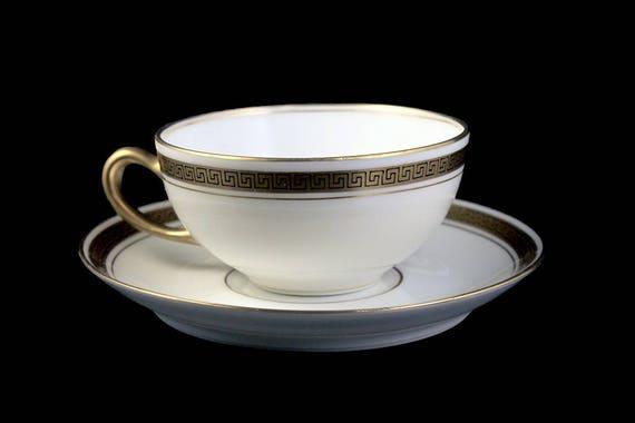 Antique Teacup and Saucer, P L Limoges, M Redon, Black Greek Square on Gold, Fine China,