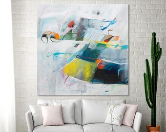Abstract Painting PRINT, Contemporary Art, Large Modern Wall Art, Abstract Art Print, White large canvas art by Duealberi