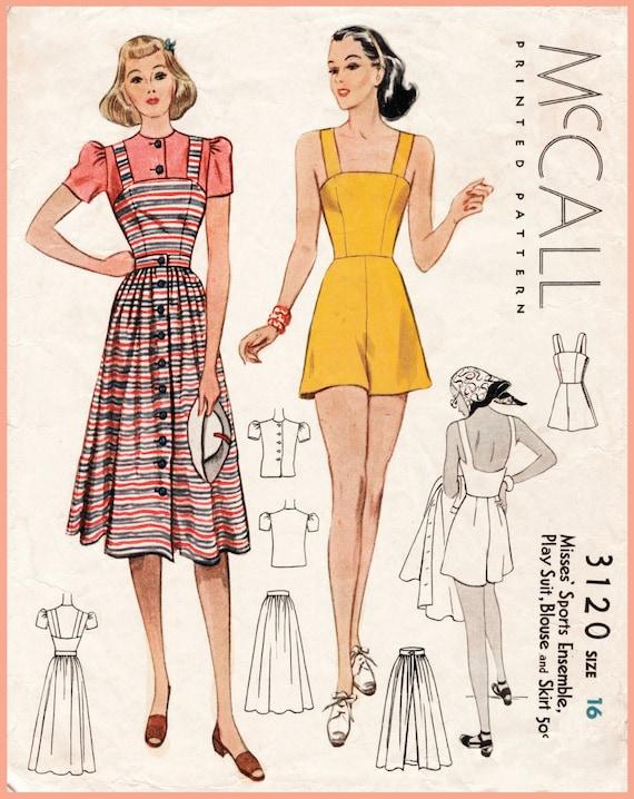 1930s 1940s vintage sewing pattern sportwear ensemble playsuit