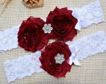 Burgundy Garter, Vin Garter Set,  Red Bridal Clothing, Garter For Wedding, Garter For Brides, Maroon Garter, Lace Garter Red, Keep Garter