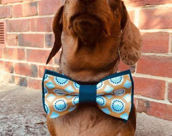 Mustard Shapes Deluxe Dog Bow Tie