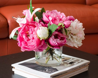 Large Fuchsia Pink Peonies Arrangement with Silk Casablanca Lilies Flowers Artificial Faux Arrangement for Home Decor