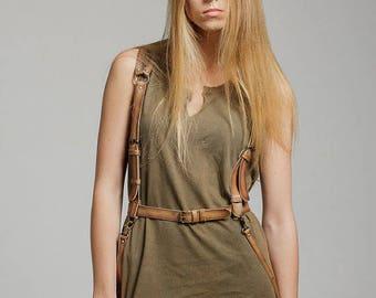 SALE! Leather harness women, tan real leather body harness, tan harness belt, harness vest Night Out Tan
