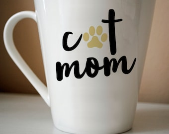 Cat Mom Decal   Cat, Cat Mom, Cat Lover, Cat Gift, Coffee, Coffee Gift