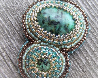 African Turquoise Jasper Embroidered Pendant