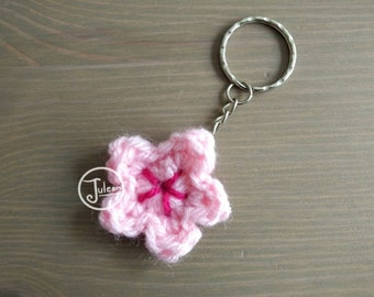 Sakura Keychain - Crochet Cherry Blossom Keychain Charm - Japan Hanami inspired