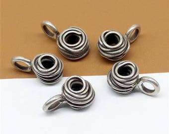 8 Karen Hill Tribe Silver Wired Bead Charms 6mm, Higher Silver Content than Sterling Silver Wired Bead Charms - TR860
