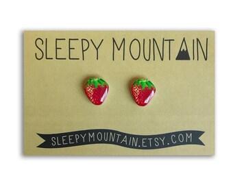 Strawberry Earrings - Nickel Free Fruit Stud Earrings