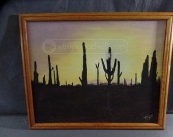 Vintage Southwestern Saguaro Cactus Painting Signed Teresa