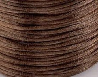 10M / 11 Yd 1mm ESPRESSO Brown Satin Rattail Cord, Kumihimo cord, Macrame cord, Chinese Knotting, Bracelet cord, Jewelry cord, Necklace cord