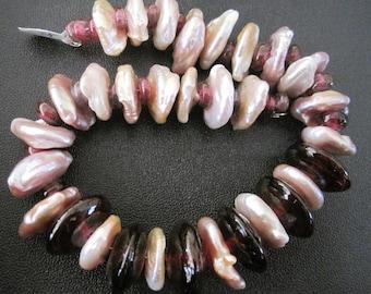 PEARLS & GLASS Bead Set-30 Handmade Lampwork Glass Beads