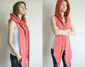Hand Knit Coral Wool Hooded Cabled Scarf / Winter Knit Accessories