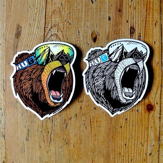 Bear vinyl sticker pack snowboard sticker adventure sticker