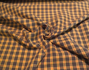 Black and Yellow Mini Tartan Plaid Pure Pima Cotton Shirting Fabric --By the Yard