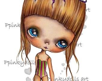 INSTANT DOWNLOAD digitale Digi stempels... door Chrishanthi van kunst, Octopus meisje ''