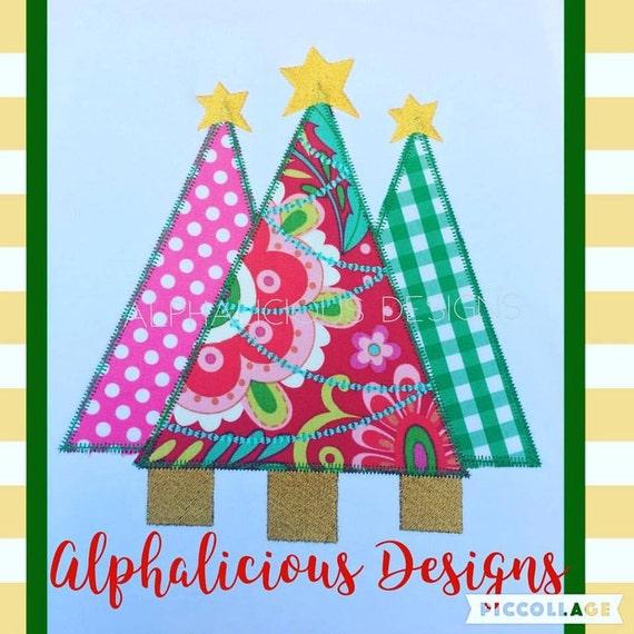 Christmas Tree Trio: Items Similar To Christmas Tree Trio Applique Design