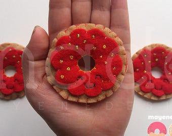 strawberry jam donut brooch, felt food pin