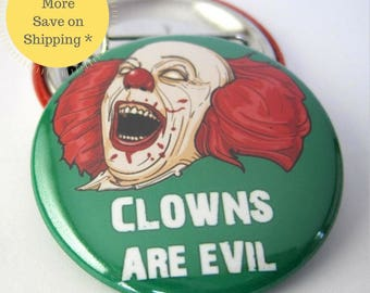 """Pennywise 1.5"""" Scary, Clown are Evil Fridge Magnet, Backpack Pin Collector, Dorm Room Decor, Magnetic Board Halloween Accessory (38mm)"""