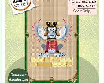 Brooke's Books Once Upon A Stitch Flying Monkey From The Wonderful Wizard of Oz Cross Stitch Chart Only INSTANT DOWNLOAD