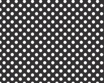 Small Dots Black, Black with White Dots, Cotton Dots Collection, Riley Blake Designs, Quilting Cotton, Blender Fabrics