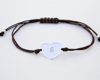 Personalized bracelet.Heart bracelet.Sterling silver bracelet.Tiny silver bead bracelet.Friendship bracelet.Cord bracelet.String.P004