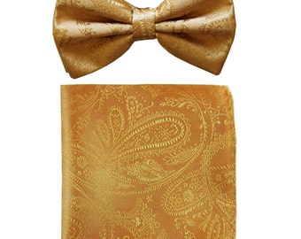 Men's Paisley Gold Pre-Tied Bowtie and Handkerchief, for Formal Occasions