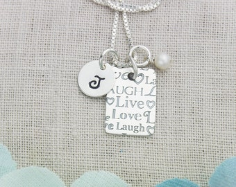 Live Laugh Love Sterling Silver  Personalized Initial Necklace Hand Stamped Jewelry-