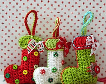 Crochet pattern - Christmas booties / sock ornament by VendulkaM / DIY, pdf / Decoration / Hanger