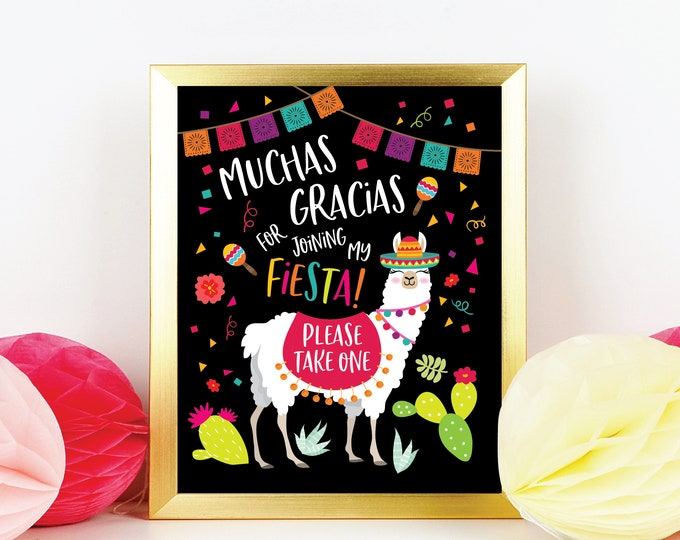 Llama Party Favor Sign - Printable, Party Welcome Sign, Instant Download, Digital files - Fiesta, Mexican Favor Sign, Taco Birthday party