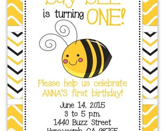 Bumble Bee Invite, Honey Bee Invitation, First Birthday Invitation, Digital Design - CUSTOM for You - 4x6 or 5x7 size - YOU print