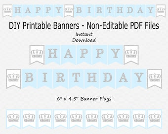 Happy Birthday Banner with Crowns - Pale Blue & Silver Sparkle - Royal Prince Boy - PRINTABLE - INSTANT DOWNLOAD